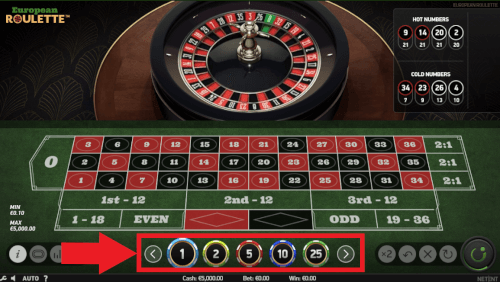 geld inzetten europees roulette spel
