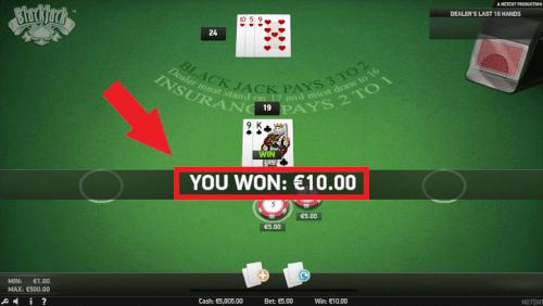 winnen blackjack spel