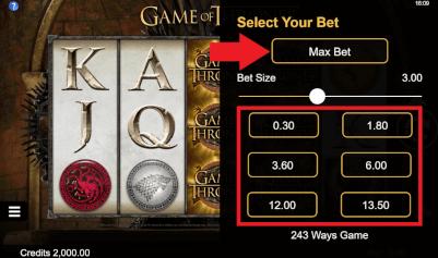 bepaal inzet of max bet