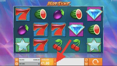 Bepaal je inzet op de Hot Sync Slot