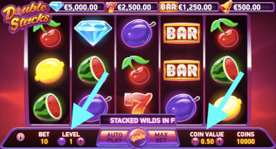 Muntwaarde en bet level instellen op de Double Stacks slot