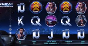 Nitro symbolen tijdens free spins in de Drive Multiplier Mayhem slot