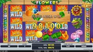 Super Mega Win op de Flowers slot tijdens free spins