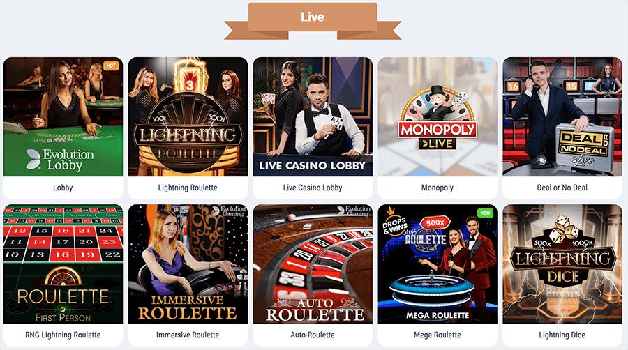 Alle soorten Live casino spellen