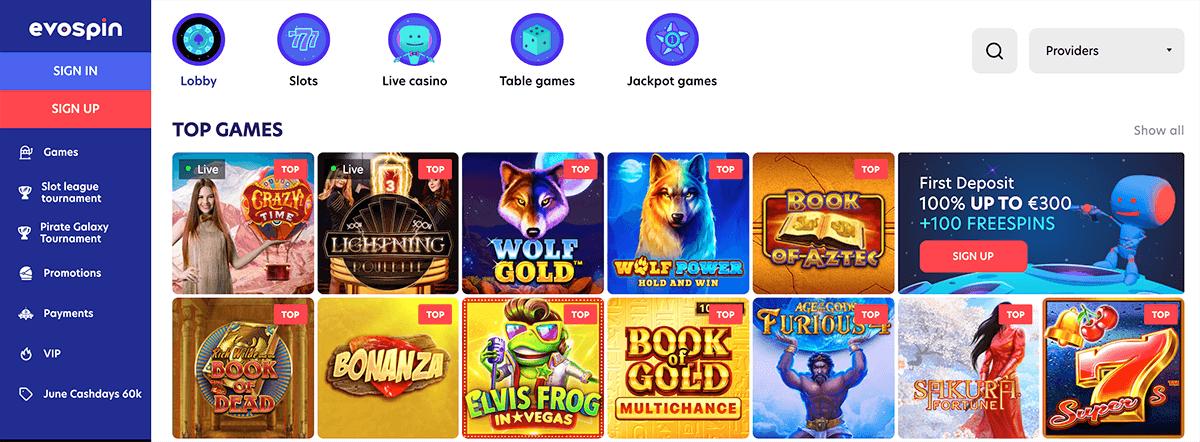 De lobby met casinospellen