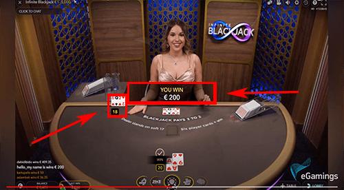 Infinite blackjack winst