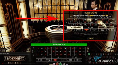 Lightning Roulette spelregels