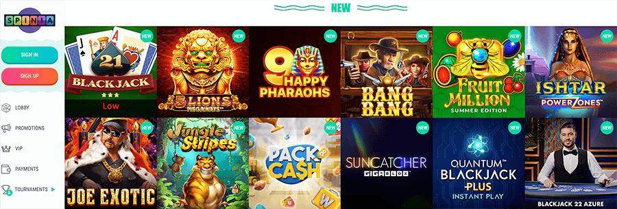 Meer dan 1200 casino spellen bij spinia