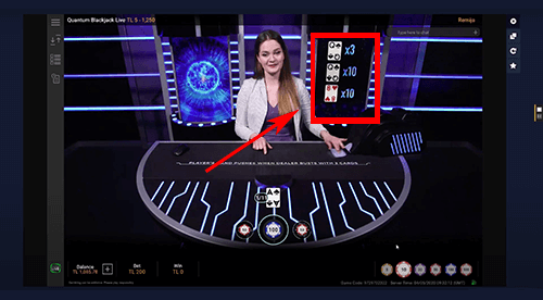 Quantum Blackjack multipliers