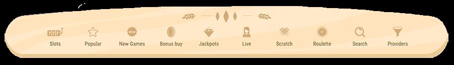 Verschillende categorien voor de casino spellen