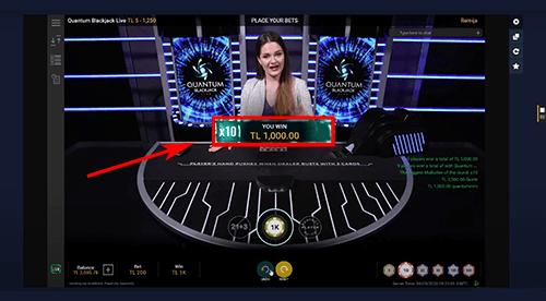 Winst in het live casino