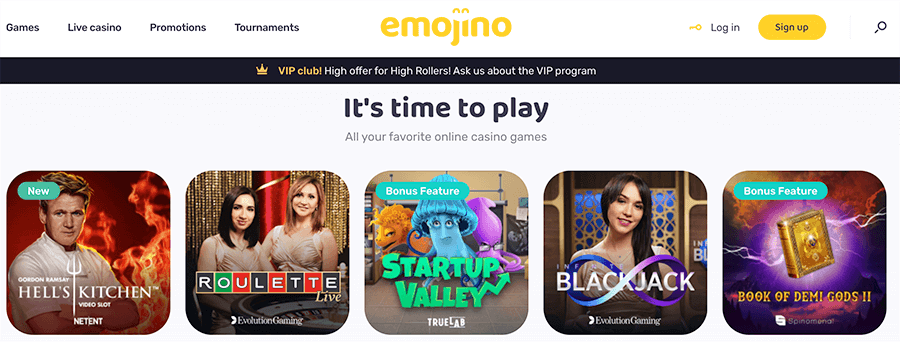 Emojino casino heeft echt duizenden spellen