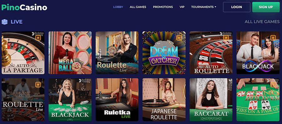 Ga voor interactie in het Live casino van Pino