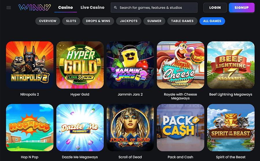 Je vind bij Winny een uitgebreid aanbod casino spellen