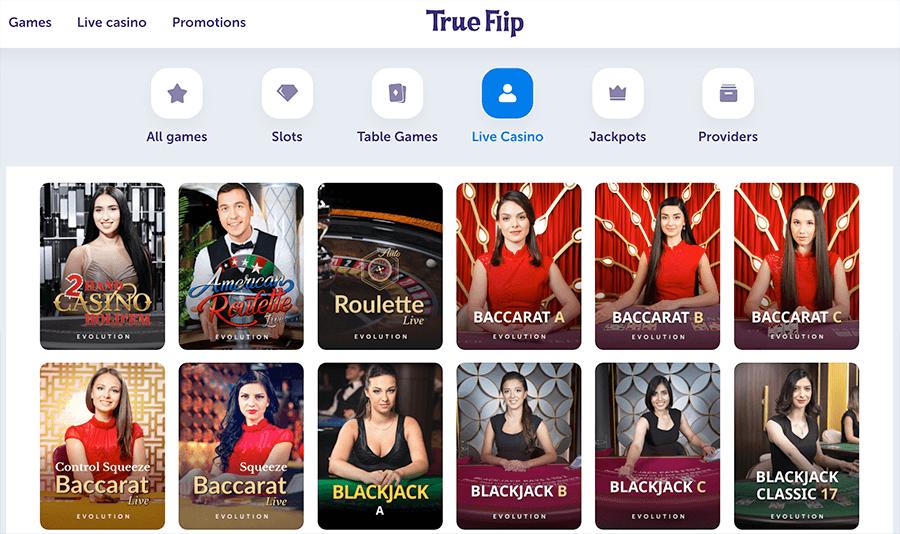 Speel in het Live casino van true flip