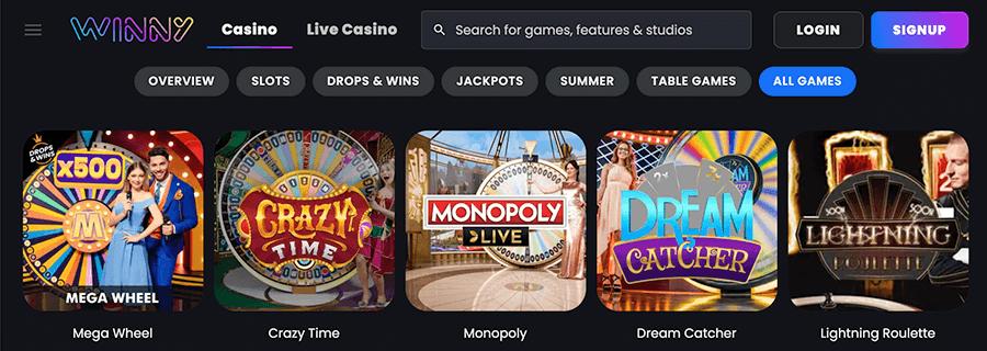 Speel ook eens in het live casino van winny