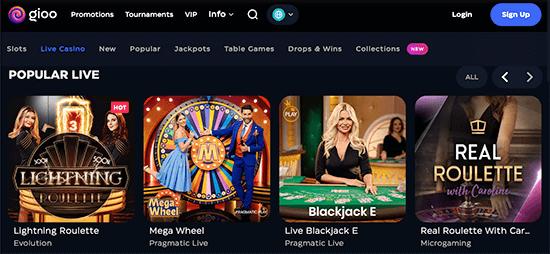 Ontdek het Live casino van Gioo